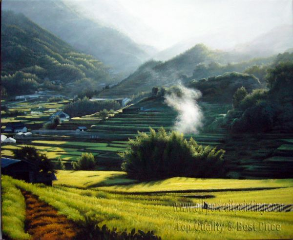 Photo to painting landscape painting lake scenery and for Oil painting scenery